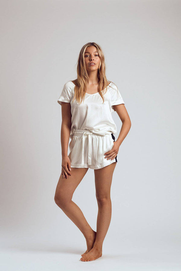 Silk Shorts | White Russian - Souszy - The Silk Robe