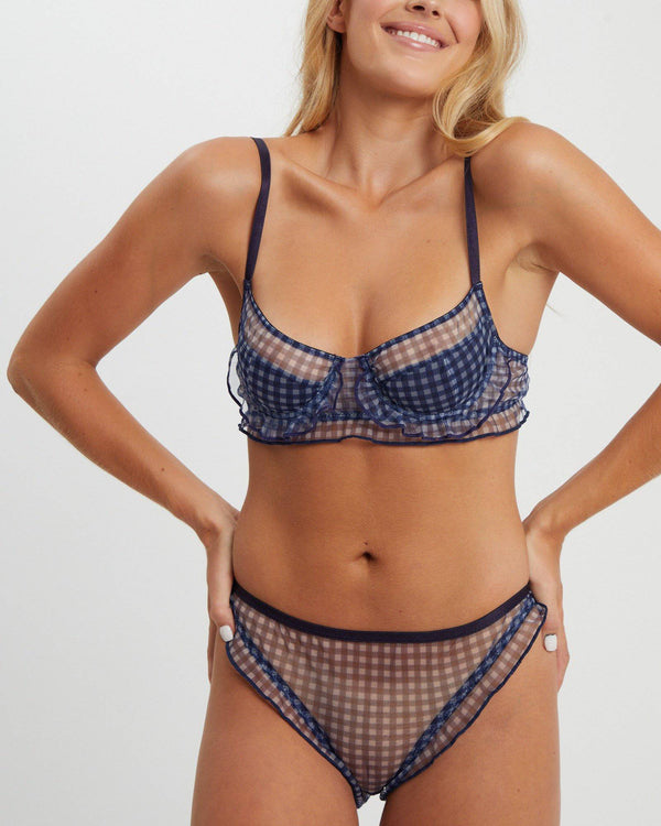 Madison Underwire Bra | Blue Gingham - Souszy - Saturday The Label