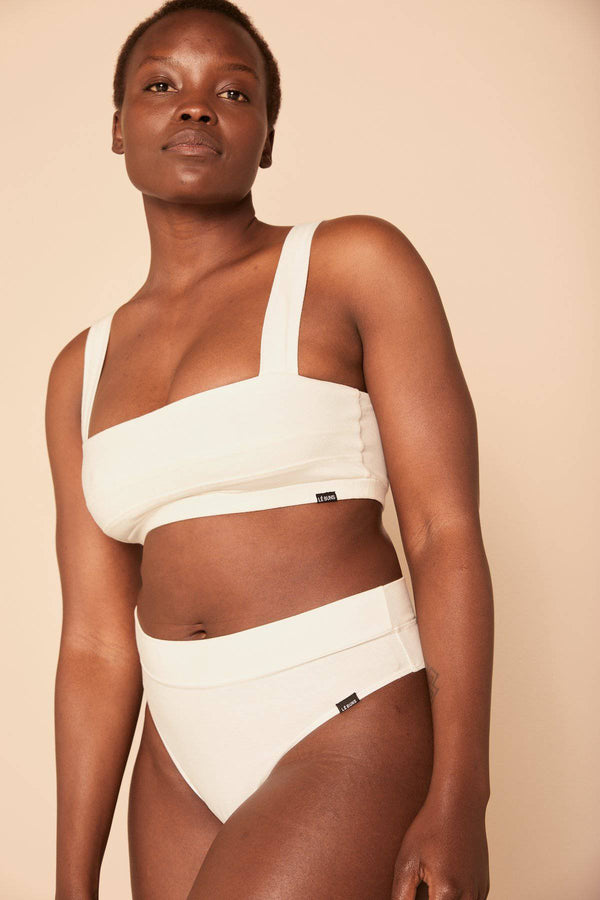 Gia Organic Cotton Square Cut Bralette | White