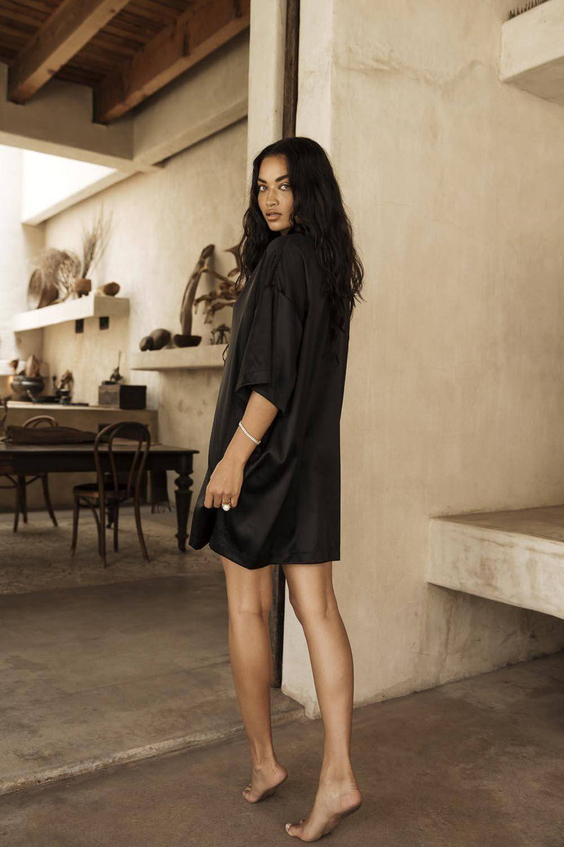 Heavenly Shirt Dress | Black