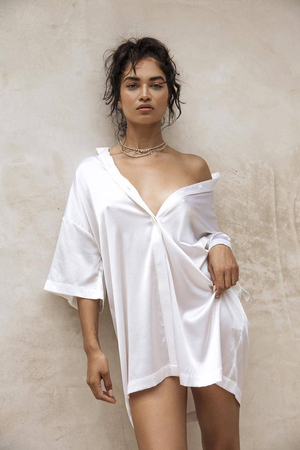 Heavenly Shirt Dress | White