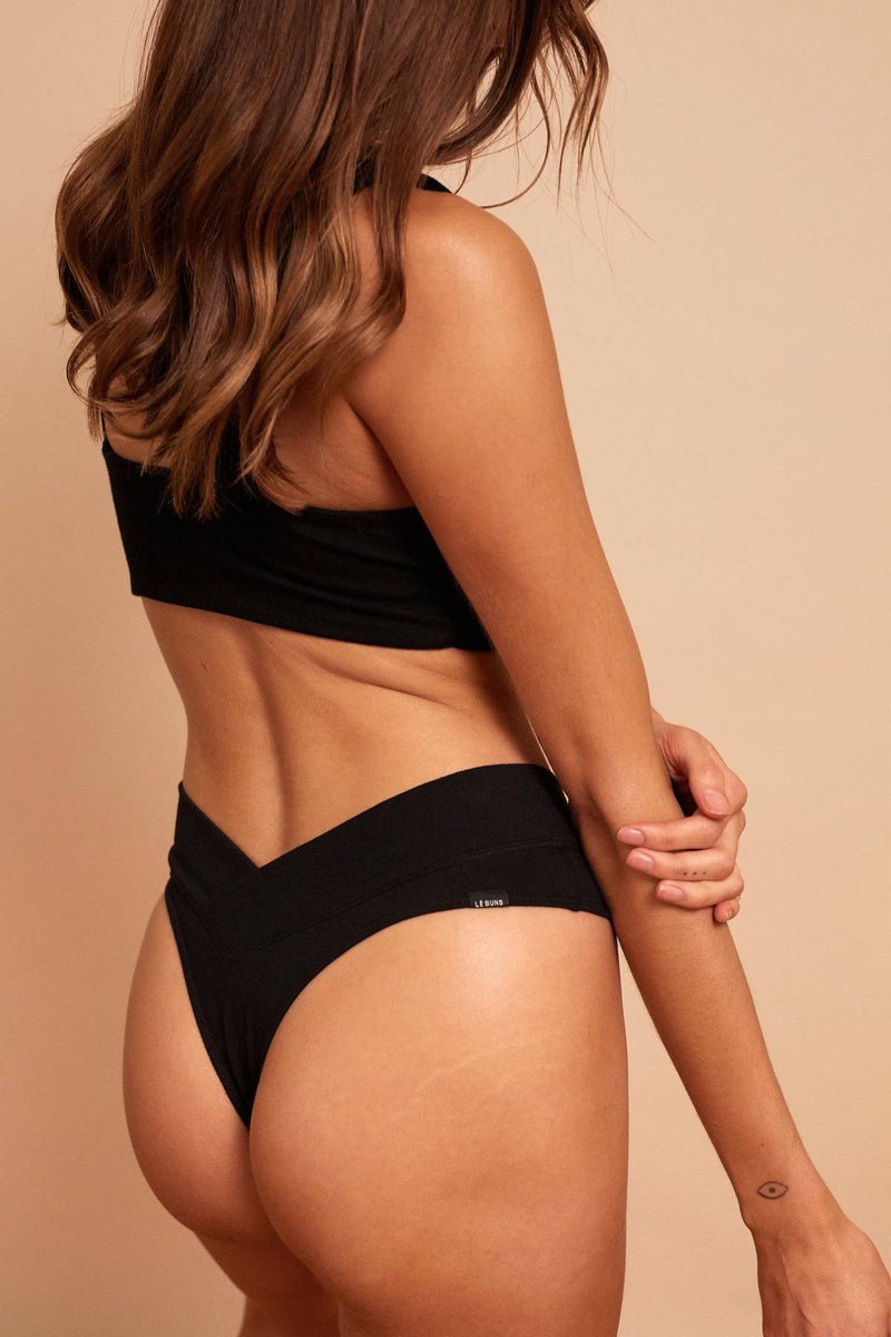 Billie Organic Cotton G String | Black - Souszy - Le Buns