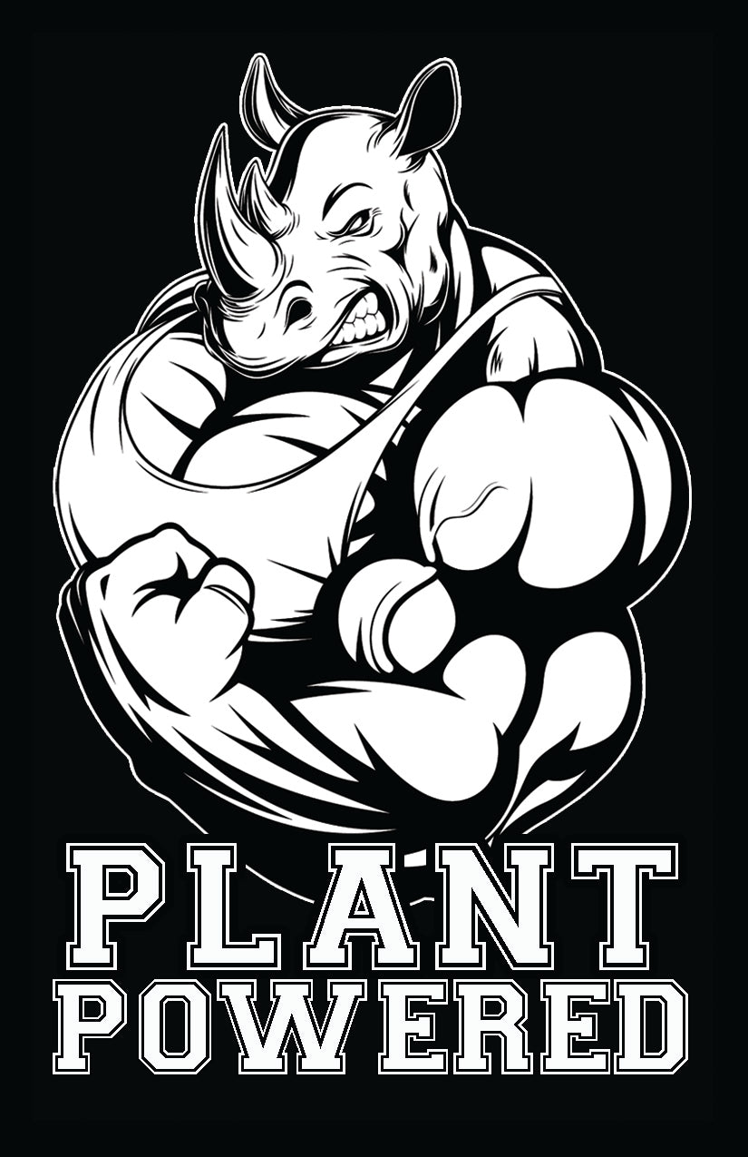 Plant Powered Rhino Sticker