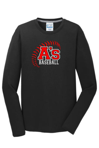 A's Baseball Port & Co Cotton Feel Long Sleeve Tee