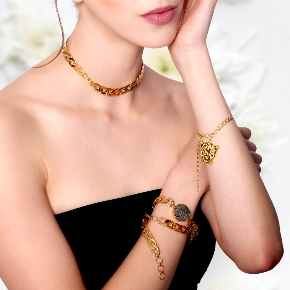 Golden Pyrite Alexandra Choker, Necklace & Bracelet