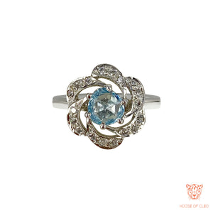 Sterling Silver Iodite Flower Ring with American Diamond