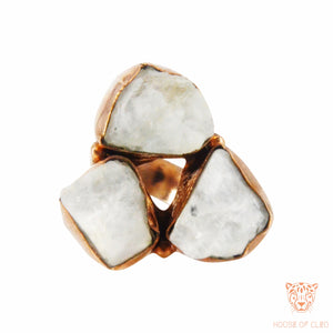 Triangular Ring with Moonstone