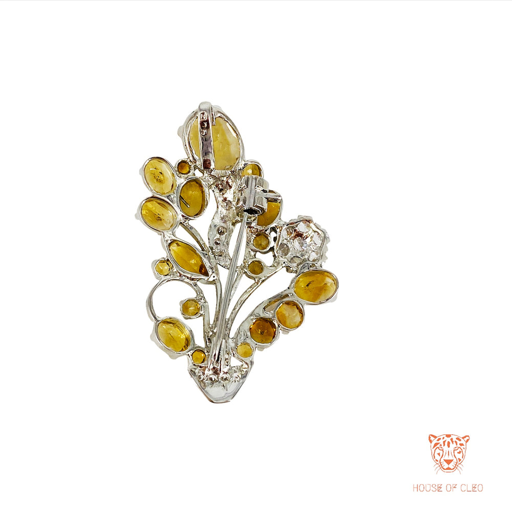 Multifunctional Sterling Silver Citrine Brooch and Pendant