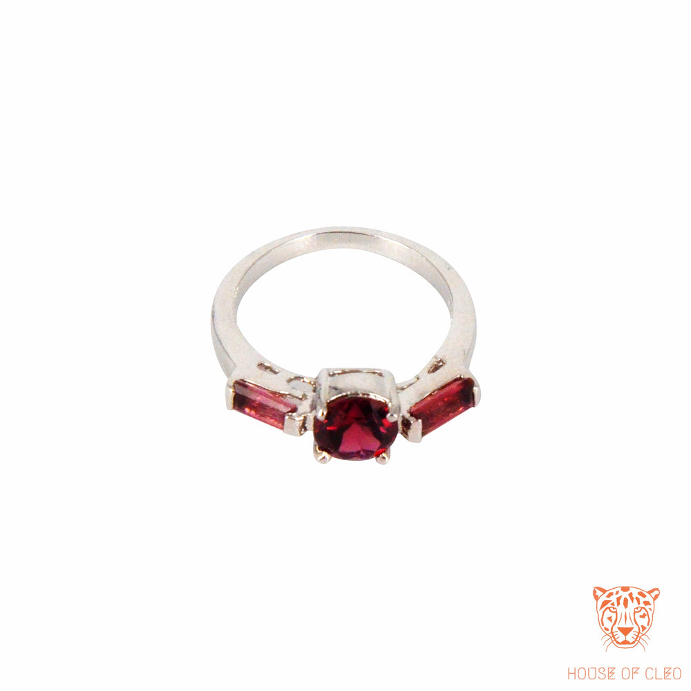 Sterling Silver Garnet Oval and Baguette Ring
