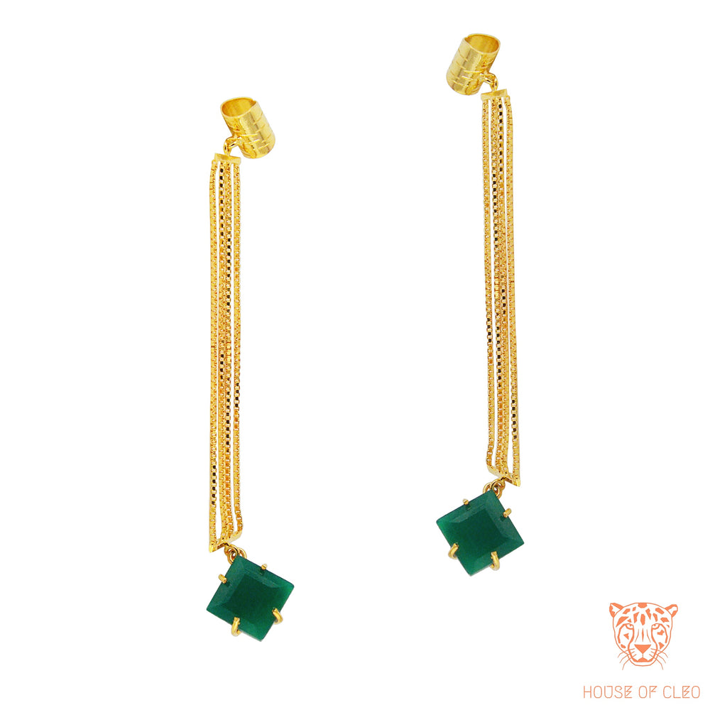 Bedazzled Studs Green Onyx
