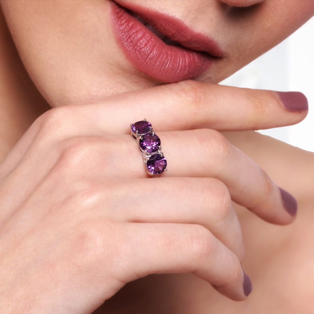 Sterling Silver Amethyst Trilogy Crystal Ring