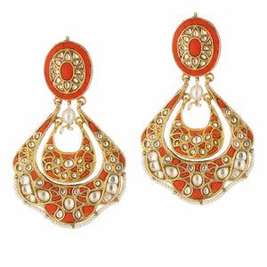 Aarna Silver Chand Balis Coral Orange Leaf