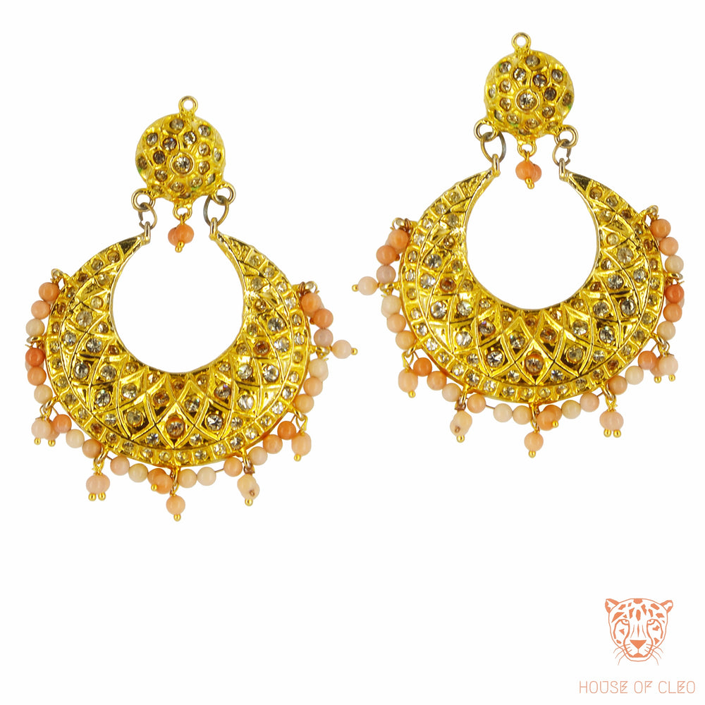 Poorna Chand Balis with Peach Beads