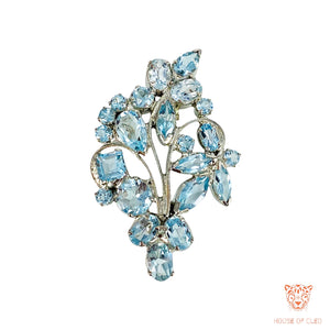 Multifunctional Sterling Silver Blue Topaz Brooch and Pendant