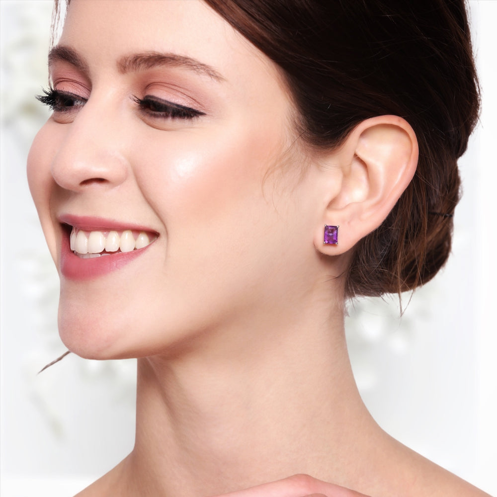 Sterling Silver Amethyst Step Cut Crystal Studs