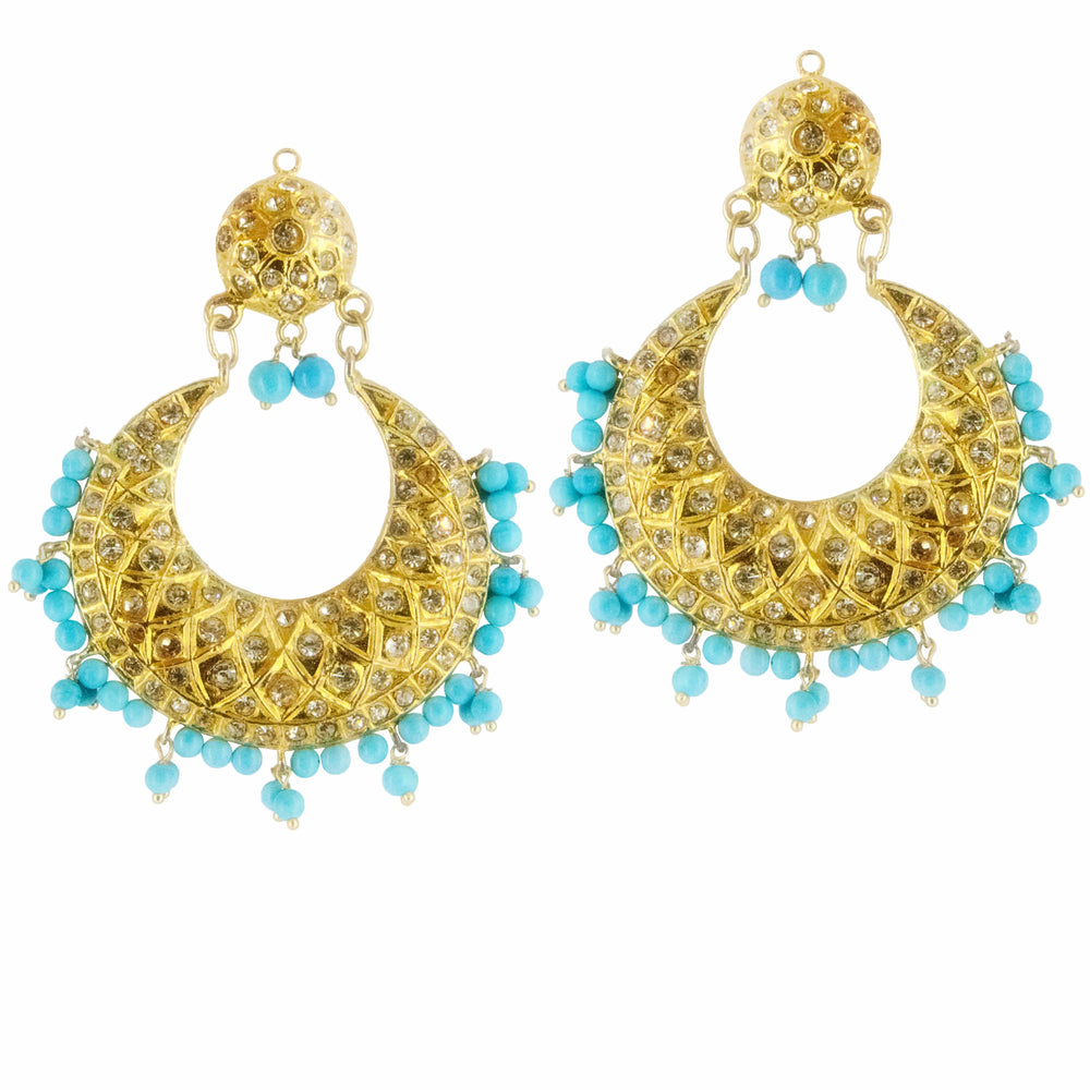 Poorna Chand Bali with Light Blue Beads