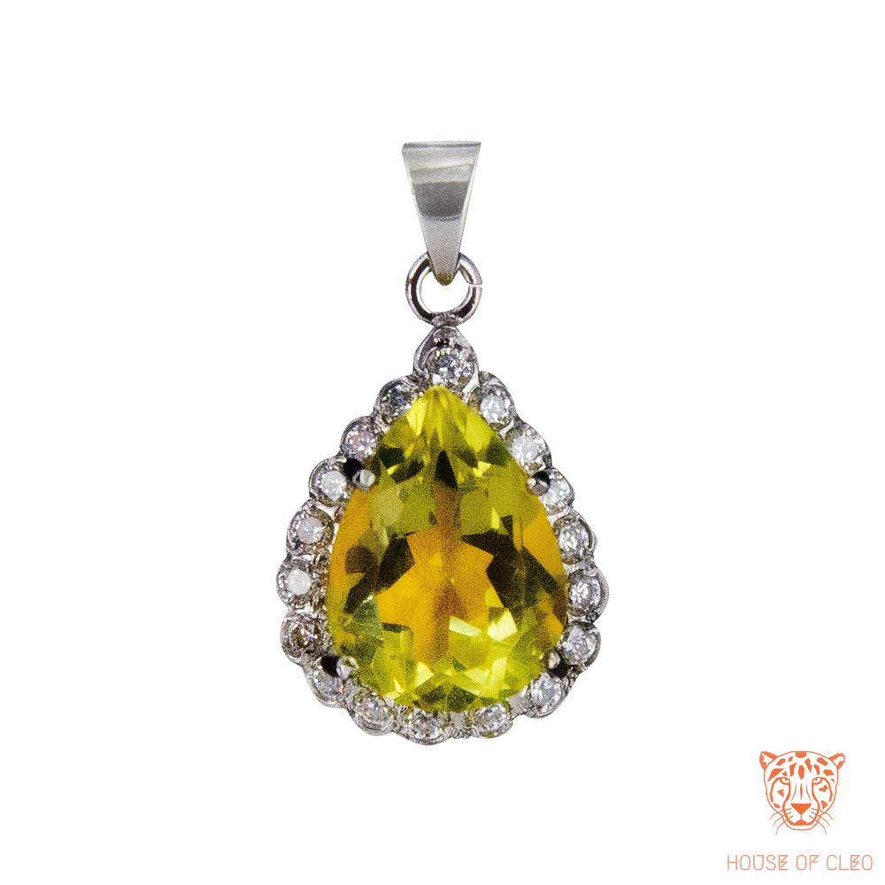 Sterling Silver Lemon Topaz Pear Set