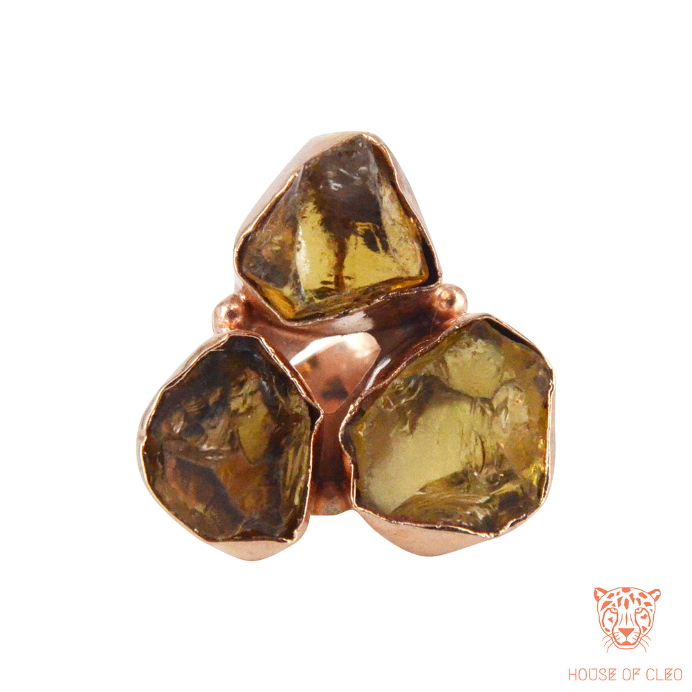 Triangular Rings Yellow Topaz