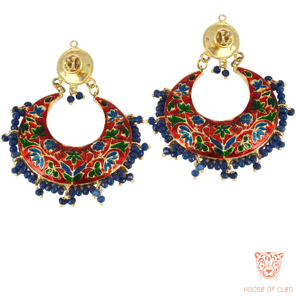 Poorna Chand Balis with Dark Blue Beads