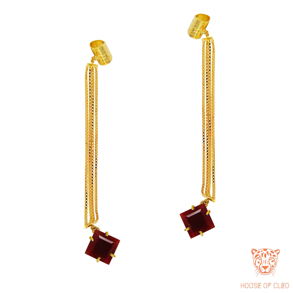 Bedazzled Studs Red Brown Onyx