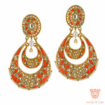 Aarna Silver Chand Balis Coral Orange Drop