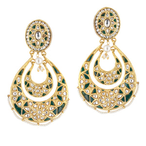 Aarna Silver Chand Balis Emerald Green Drop