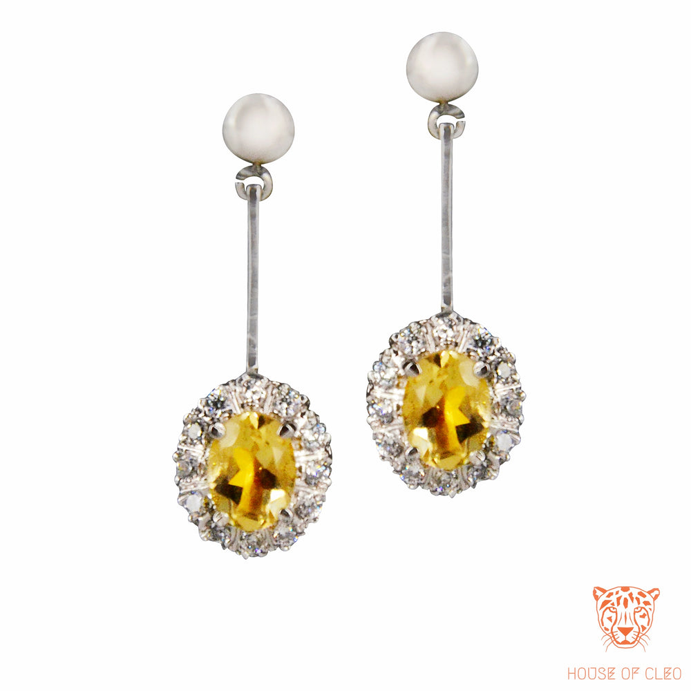 Sterling Silver Citrine and Zircon Earrings