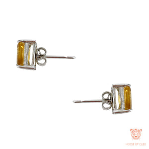 Sterling Silver Step Cut Citrine Crystal Studs