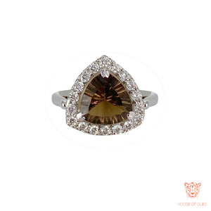 Sterling Silver Smoky Topaz Triangle Ring with American Diamond