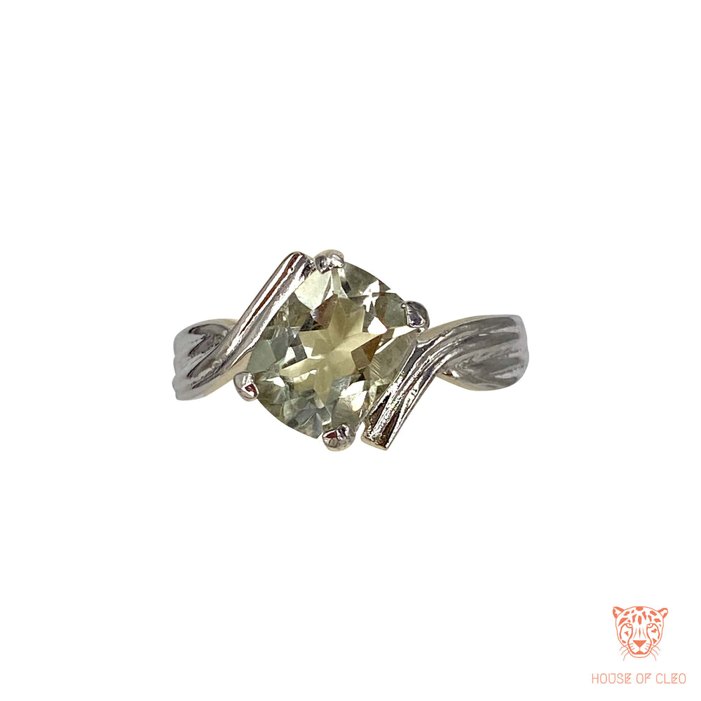Sterling Silver Light Green Amethyst Ring