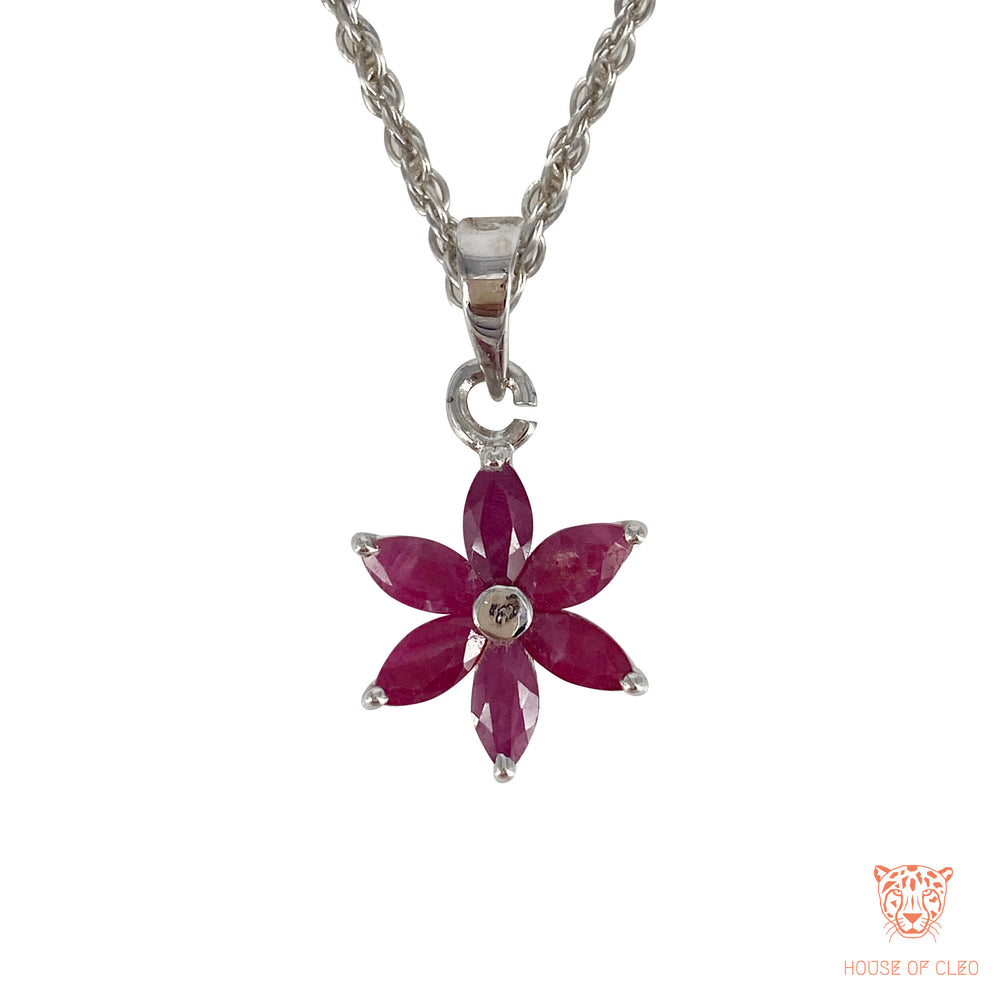 Sterling Silver Ruby Flower Pedant with Chain