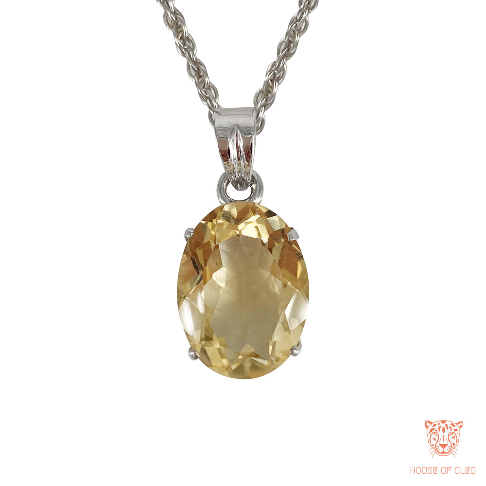Sterling Silver Oval Citrine Crystal Pendant