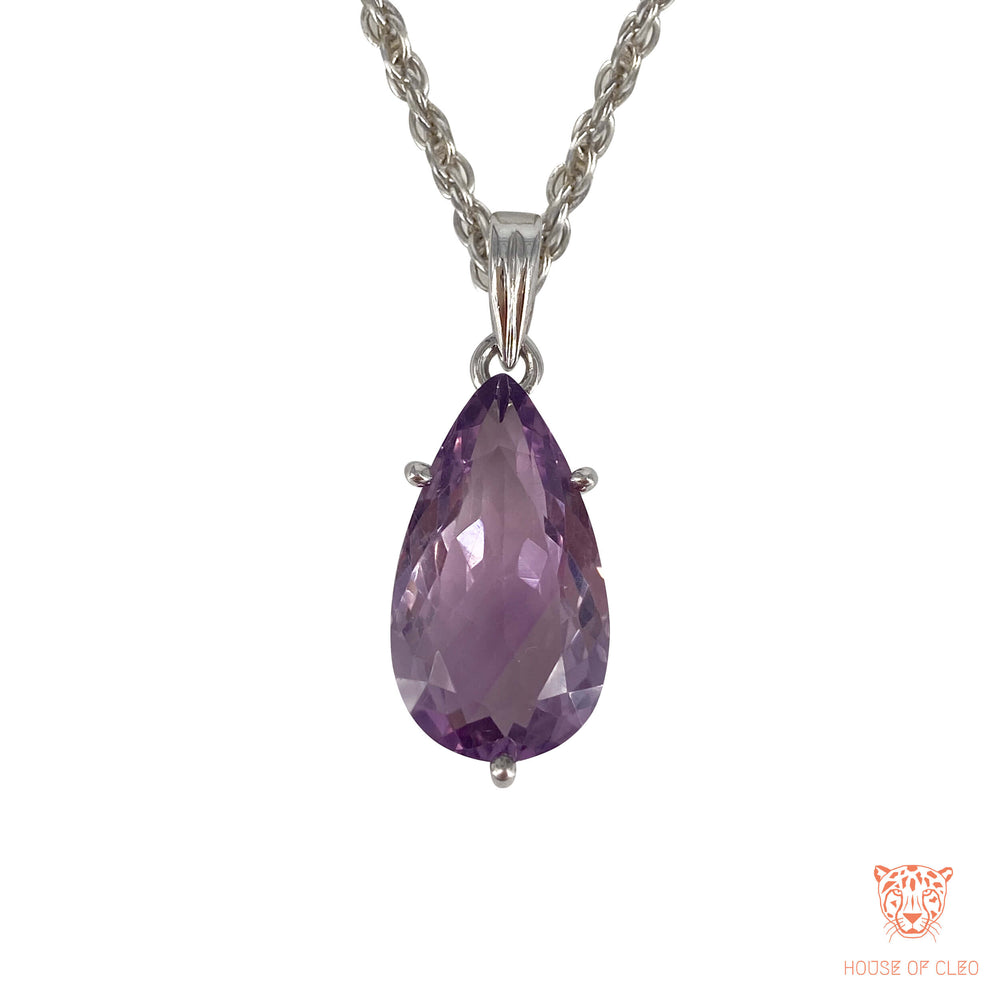 Sterling Silver Tear Drop Amethyst Crystal Pendant