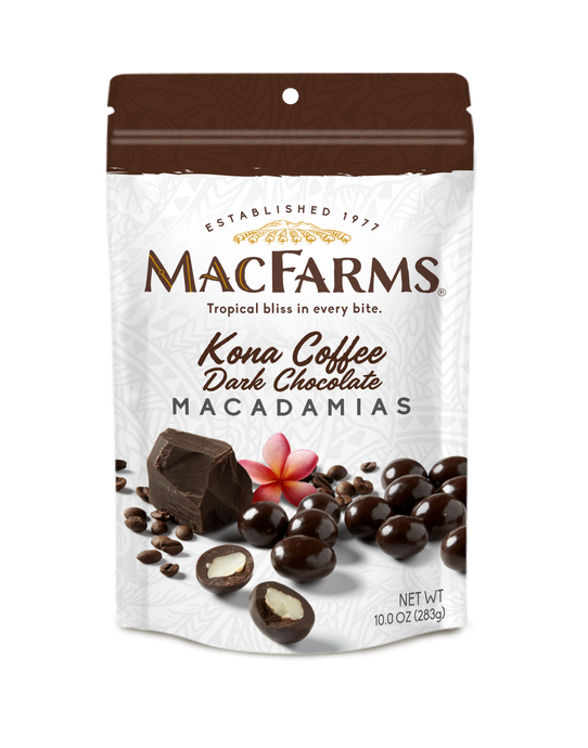 Kona Coffee Dark Chocolate Macadamia Nuts 10 oz
