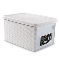 White Stackable Storage Box with lid and front door