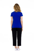 Load image into Gallery viewer, sustainable women's tee shirt organic cotton blue