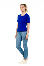sustainable women's tee shirt organic cotton blue