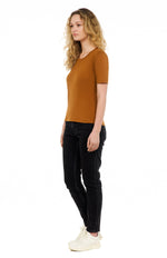 sustainable women's tee shirt organic cotton rust