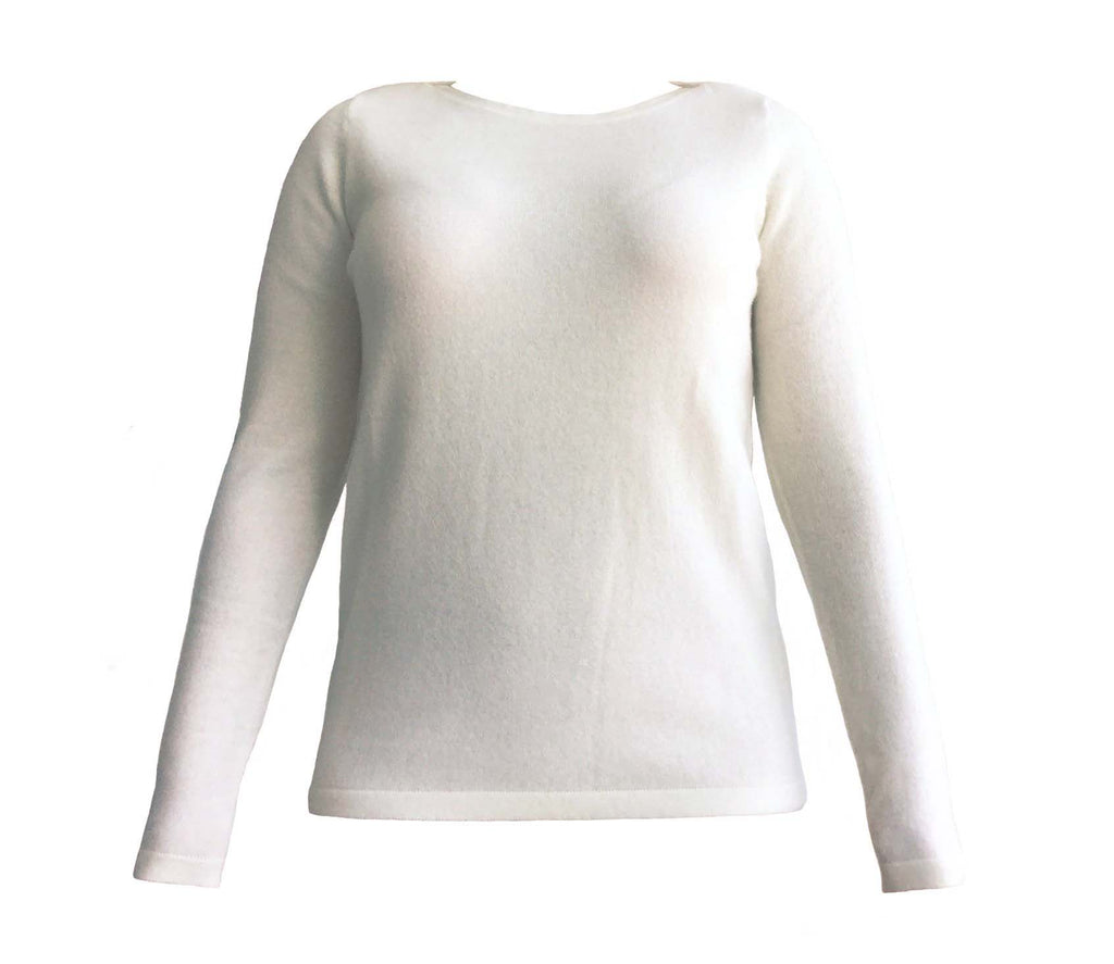 Cashmere Boatneck Sweater in Angora