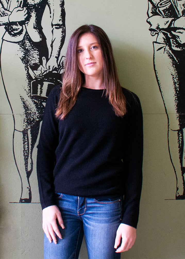 Cashmere Boatneck Sweater in Black