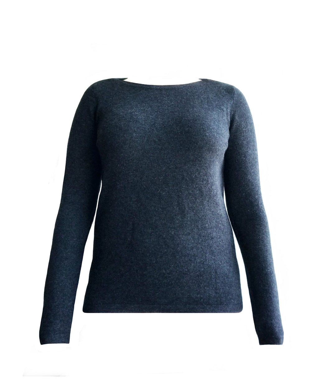 Cashmere Boatneck Sweater in Charcoal