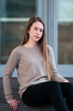 Load image into Gallery viewer, Cashmere Boatneck Sweater in Sandstone