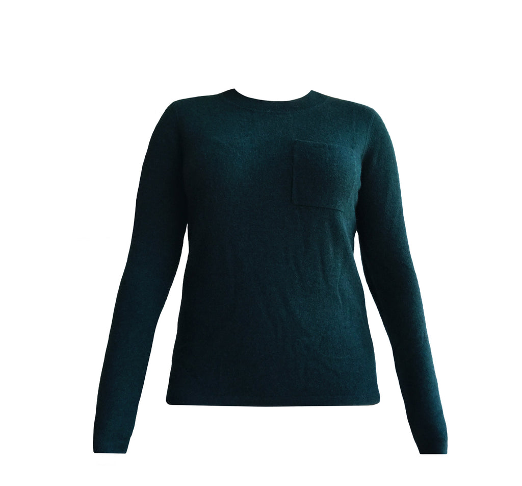 Cashmere Crewneck Sweater in Emerald Green