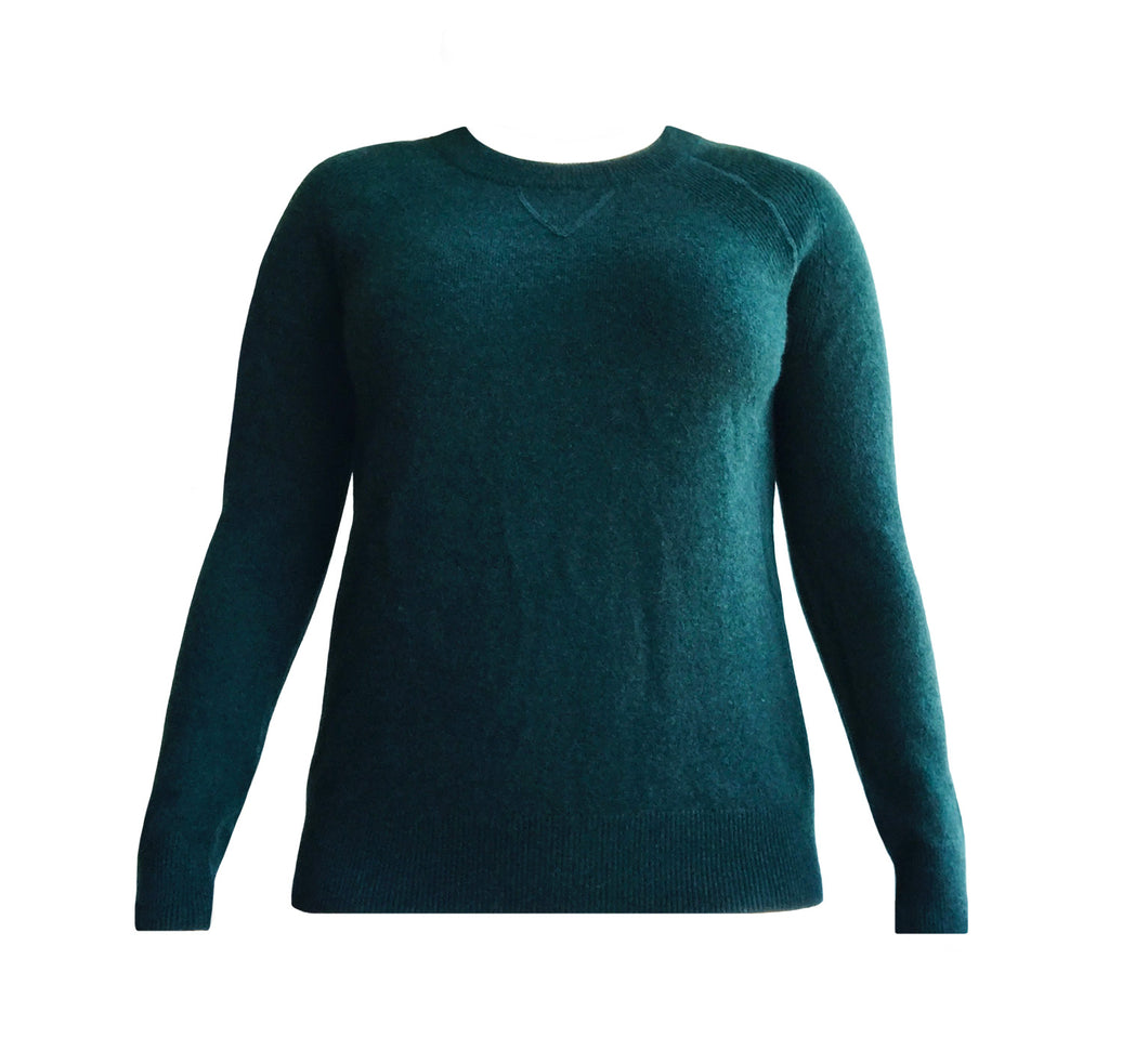 Cashmere Roundneck Sweater in Emerald Green