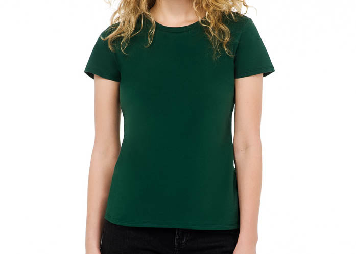 sustainable women's tee shirt organic cotton green