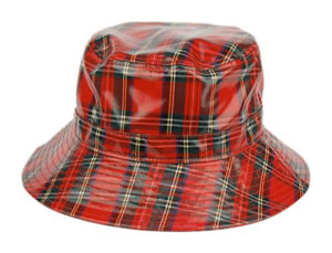Faux Leather Plaid All Weather Rain Bucket Hats