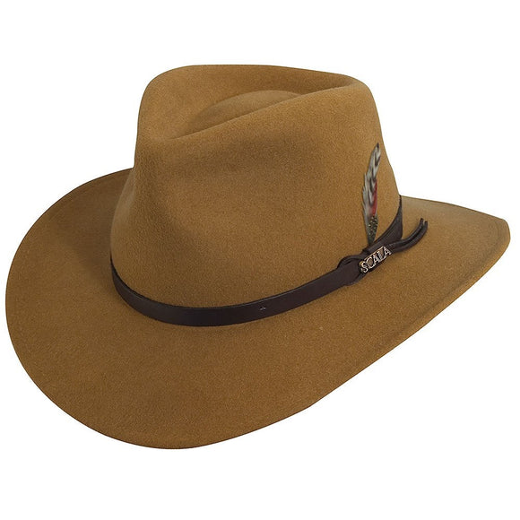 SCALA CRUSHABLE WOOL OUTBACK HAT - PECAN - SM | MED | LG | XL