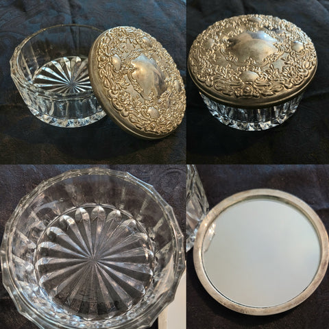 Vintage Silver Plated Vanity Powder Crystal Bowl with Mirrored Top