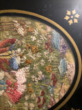 1830's Rare antique silk embroidery under reverse painted glass No. 2