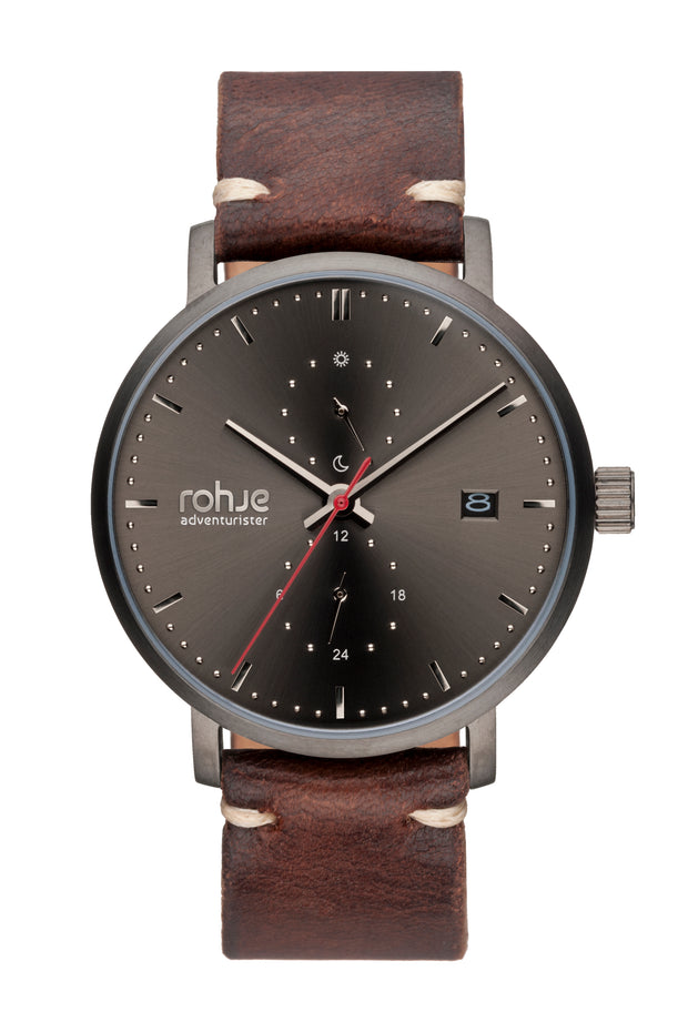 Adventurister Dark Watch, Handmade Dark Brown Reindeer Leather Strap